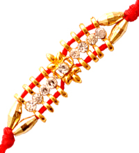 Fancy Red Rakhi with Stones