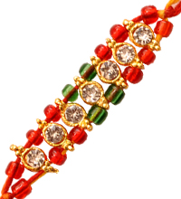 Mauli Rakhi with Red and Green Beads